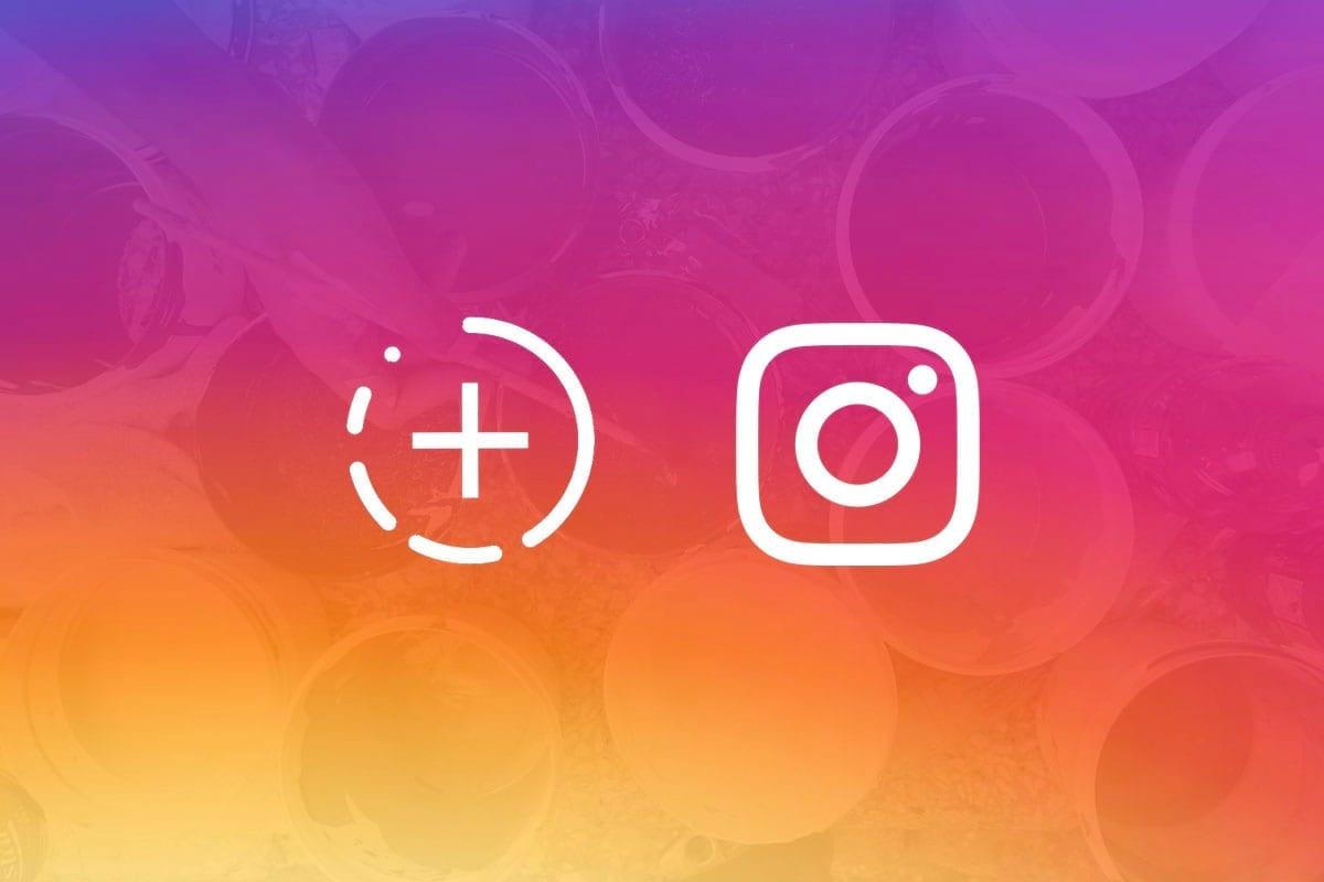 instagram stories: imagem com fundo degradê e logos do instagram e stories sobrepondo