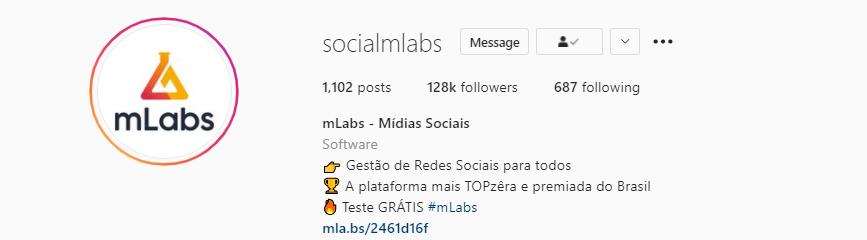 bio do instagram: imagem da biografia do instagram do perfil da mlabs