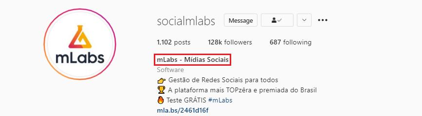 bio do instagram: imagem da biografia do instagram do perfil da mlabs indicando onde se localiza o nome