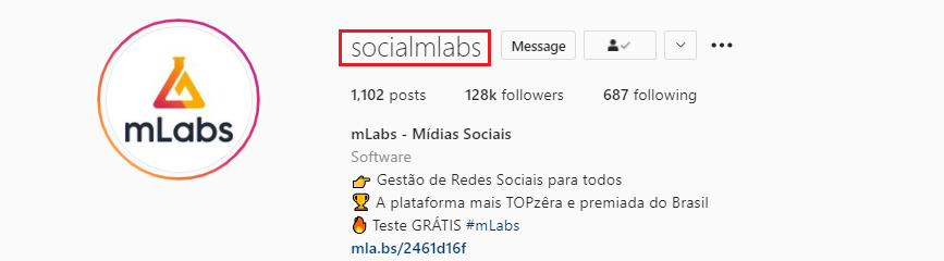 bio do instagram: imagem da biografia do instagram do perfil da mlabs indicando onde se localiza o nome de usuário