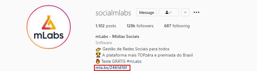 bio do instagram: imagem da biografia do instagram do perfil da mlabs indicando onde se localiza o website