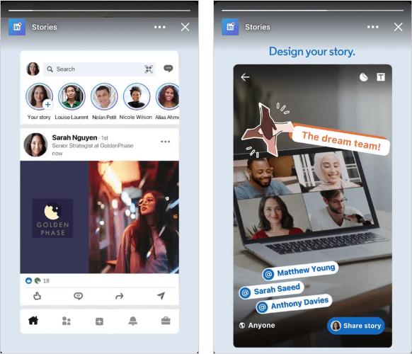 linkedin stories: imagem de duas telas de celulares, em uma está aparecendo o feed do linkedin com os ícones dos stories no topo, a outra está mostrando um story aberto em tela cheia
