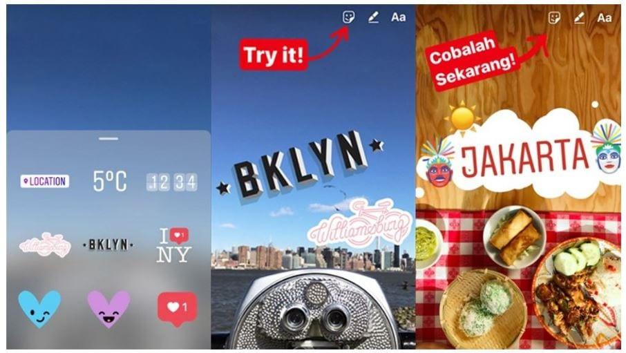 Como colocar Stickers no Instagram: imagem da tela do aplicativo com vários stickers