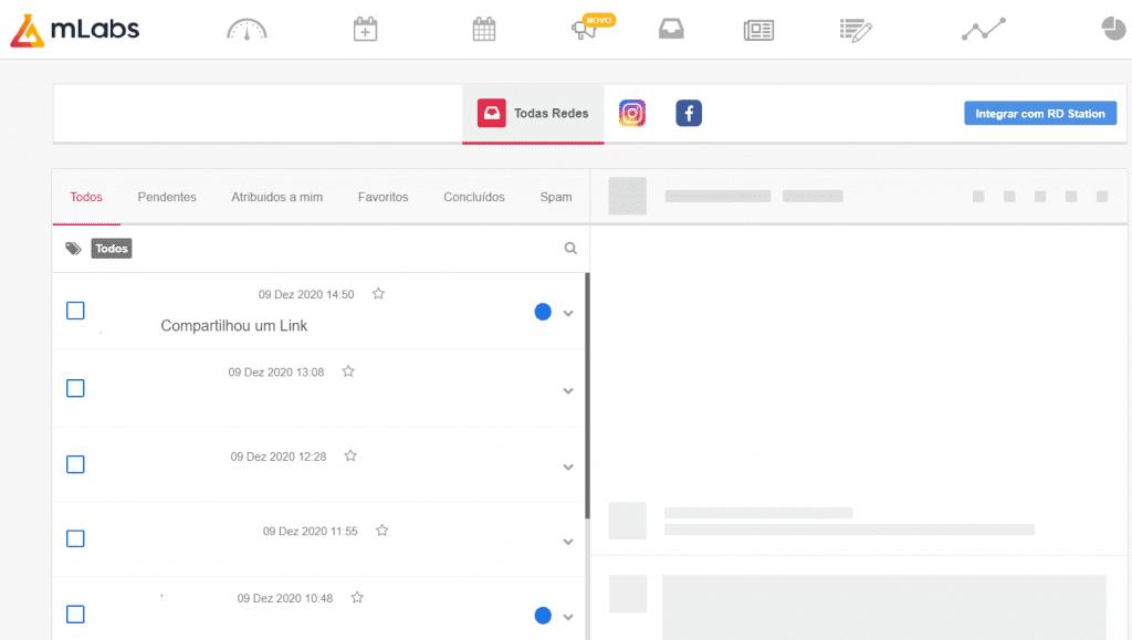 como gerenciar mensagens do inbox pela mlabs.