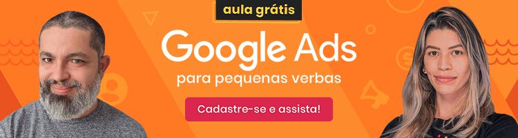 imagem de um banner publicitário para divulgação do webinar de google ads para pequenas verbas da mLabs em parceria com a agência #TudoNosso