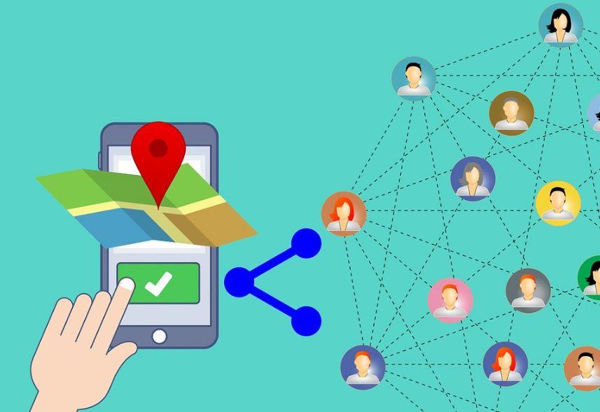 Geomarketing: imagem em desenho de um celular com um mapa compartilhando a localização para outros usuários