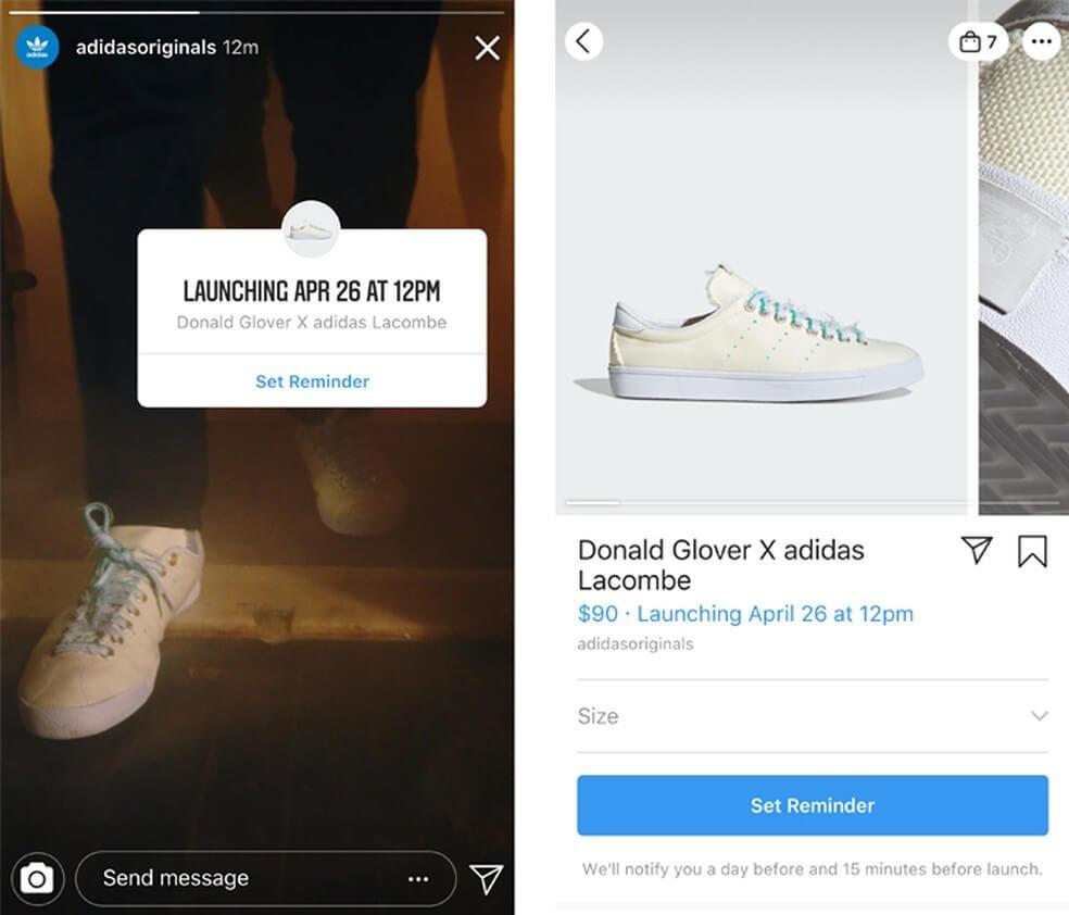 instagram shopping: imagem de um tênis branco da marca adidas com a tag da loja do intagram