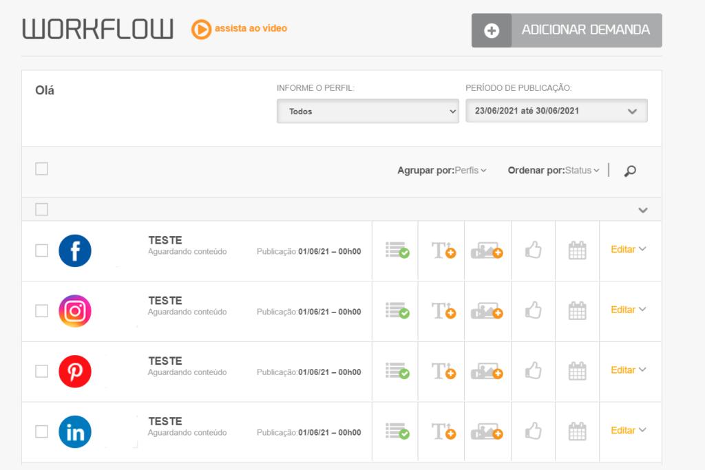 Gerenciador de redes sociais: imagem da página de workflow da mLabs