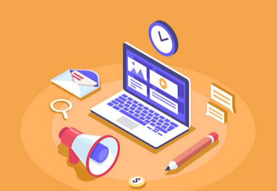 Marketing de performance: imagem vetorizada de um computador, um lápis, um megafone, uma lupa, uma carta e um relógio. O fundo da tela é laranja.