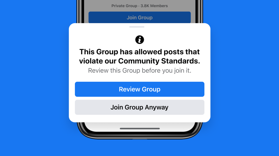ultimas novidades facebook: imagem de uma mensagem do facebook sobre proteção de grupos na plataforma