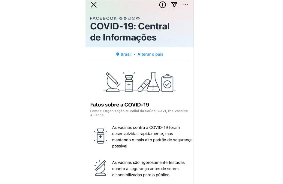 ultimas novidades facebook: imagem da central de informações do facebook alertando sobre os fatos da covid-19