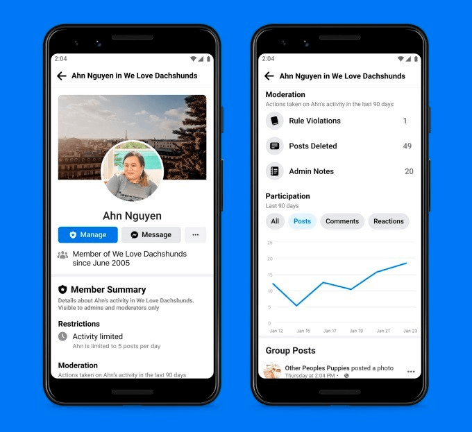 ultimas novidades facebook: imagem de dois celulares mostrando como funciona a função de administração de grupos do facebook