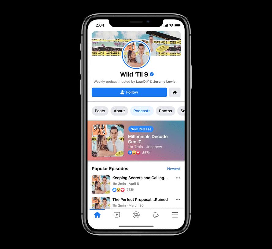 ultimas novidades facebook: imagem de um celular mostrando como serão inseridos os podcasts dentro da plataforma
