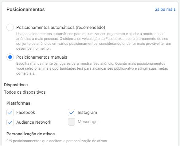 Instagram Ads: imagem da tela de nome posicionamento dos anúncios do Gerenciador de Anúncios do Facebook