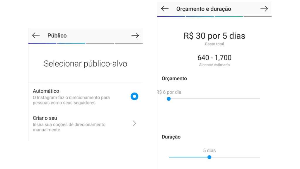 Instagram Ads: imagem das telas de público e orçamento do Instagram