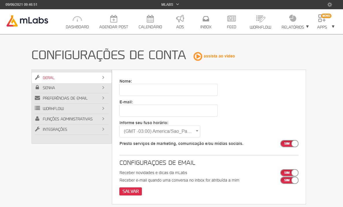 como usar mlabs: imagem da tela de configurações da conta da mlabs