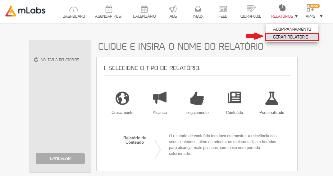 como usar mlabs: imagem da tela de gerar relatórios da mlabs