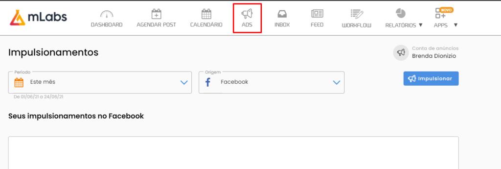 como usar mlabs: imagem do menu indicando onde se localiza o recurso Ads