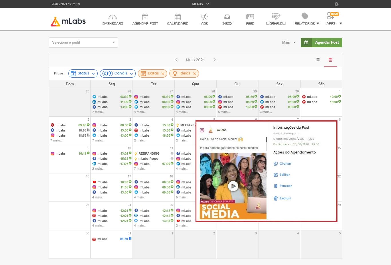 Como usar mLabs: imagem da tela de calendário