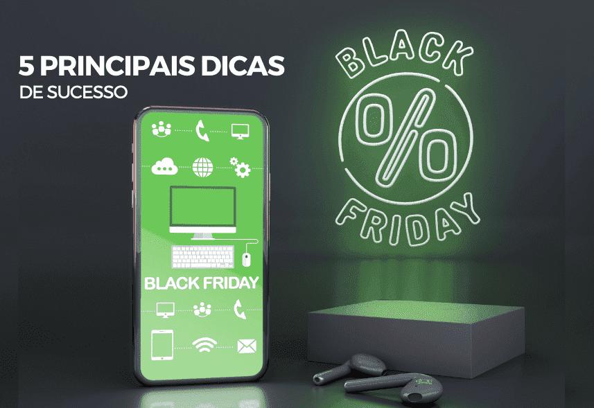 dicas-para-vender-na-black-friday: um celular iluminado com vários ícones que remetem a compra e um selo ao lado escrito Black Friday.