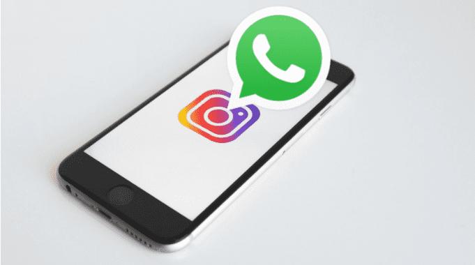 Como colocar link do Whatsapp no Instagram: na arte está retratado um celular com o logo do Instagram dentro, saindo da tela, sob o logo do Instagram, está o logo do Whatsapp.