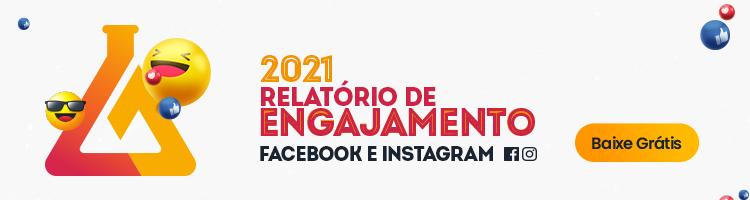 Imagem de um banner publicitário com chamada para baixar o relatório de engajamento do instagram e facebook realizado pela mLabs em 2021