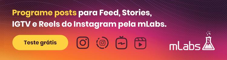 imagem de um banner publicitário com chamada para testar o gerenciamento do instagram pela mlabs