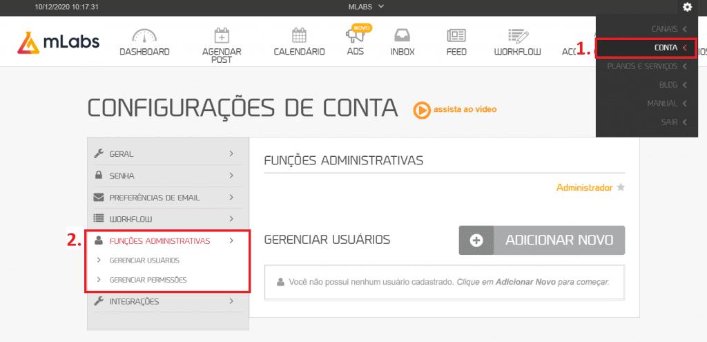 """workflow mLabs: página principal da plataforma da mLabs com destaque para dois pontos de seleção, a opção de """"conta"""" e a opção """"funções administrativas""""."""