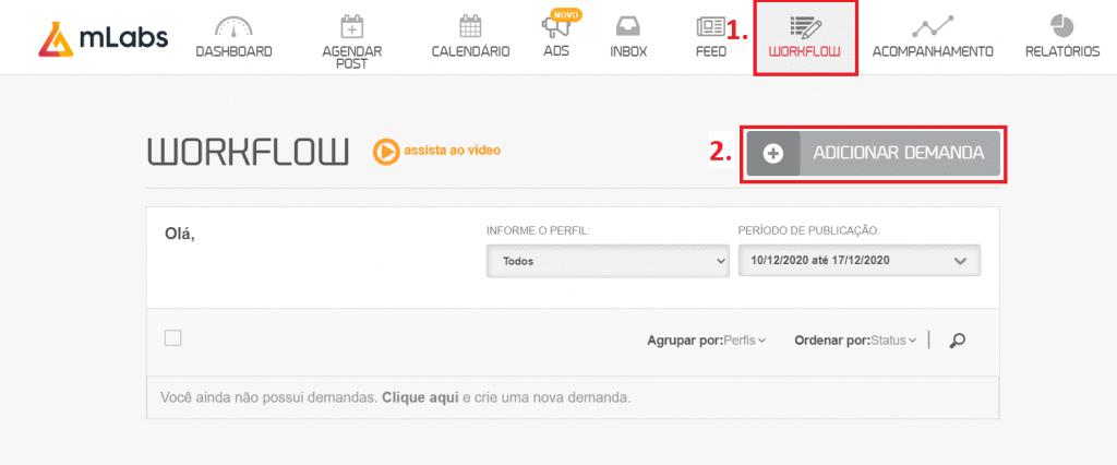 """workflow mLabs: Duas opções estão em destaques nessa tela, a opção da aba """"Workflow"""" e o botão """"adicionar novo""""."""