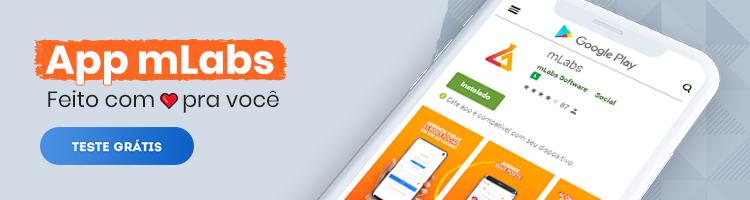imagem de um banner publicitário com chamada para baixar o app mlabs