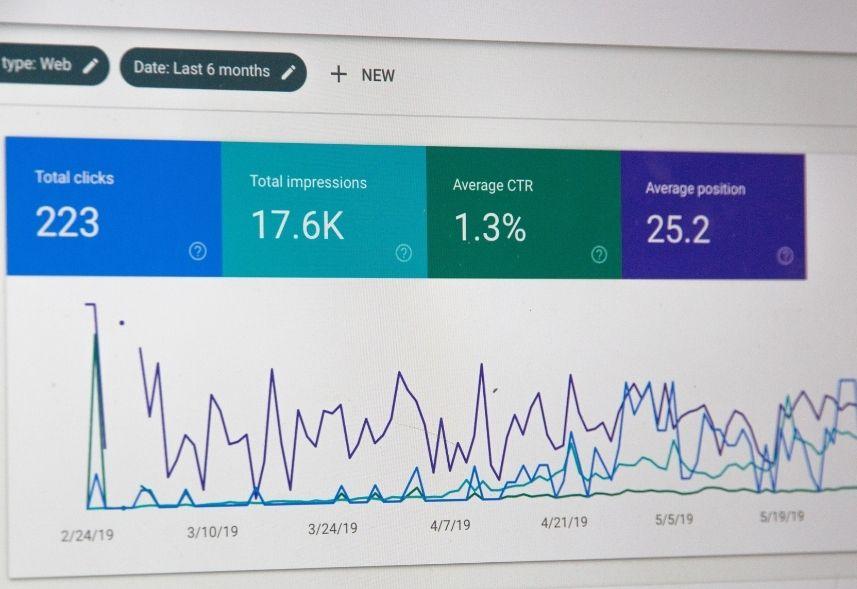 o que sao sessoes no google analytics: imagem da página do Google Analytics mostrando os seguintes dados: cliques, impressões, CTR e posição