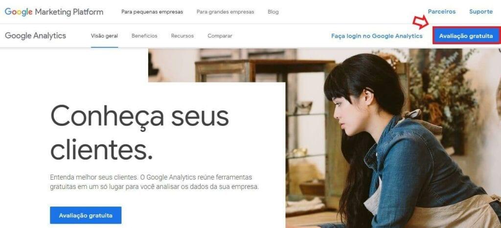 criar conta no google analytics: imagem da tela de entrada do google analytics