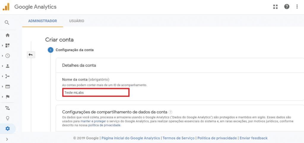 criar conta no google analytics: imagem da tela criar conta