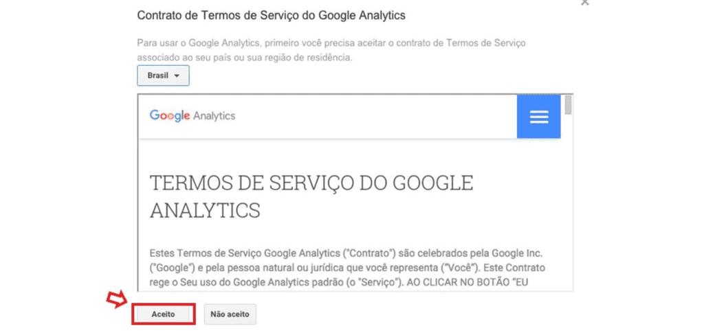 criar conta no google analytics: imagem da tela de termos de serviços do google analytics