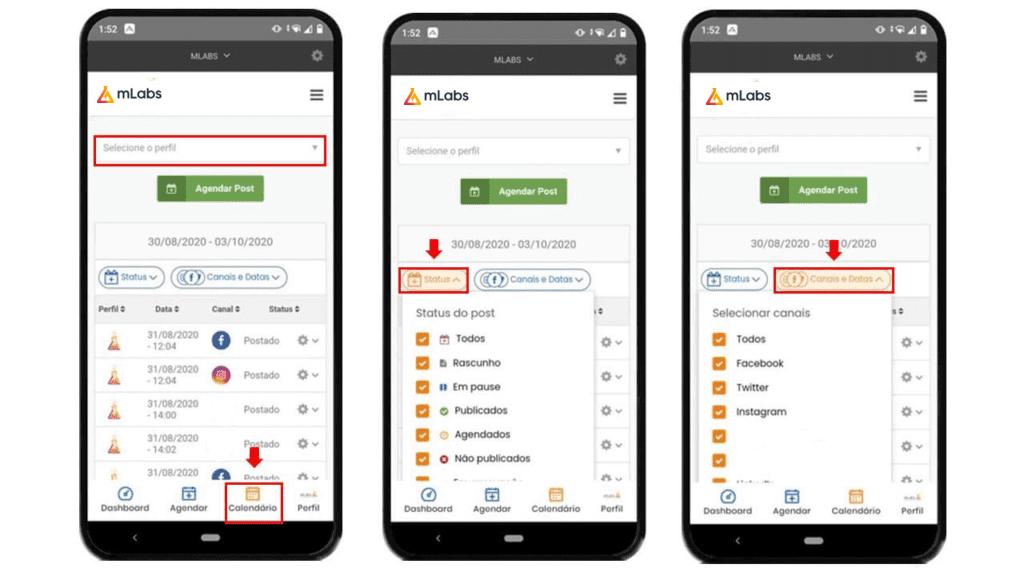mlabs app: imagem da tela de calendário