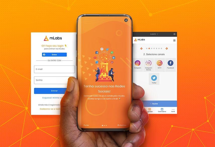 mLabs app: imagem de uma mão masculina segurando um celular com a tela do aplicativo da mLabs aparecendo