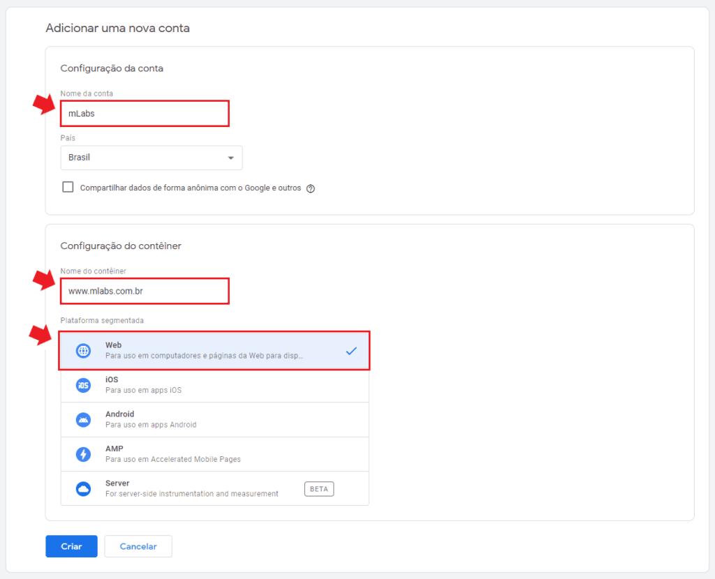 google tag manager: imagem da tela de adicionar uma nova conta