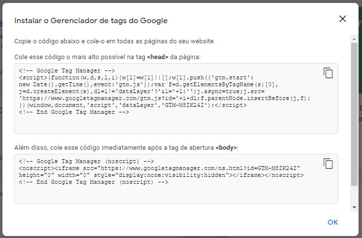 google tag manager: imagem da tela de instruções de codificação