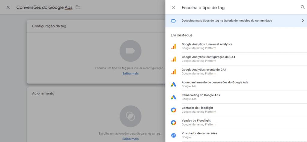 google tag manager: imagem de tela de configuração da tag indicando onde escolher o tipo