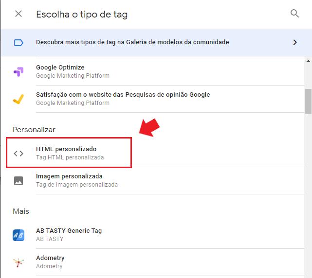 google tag manager: imagem da tela escolha um tipo de tag
