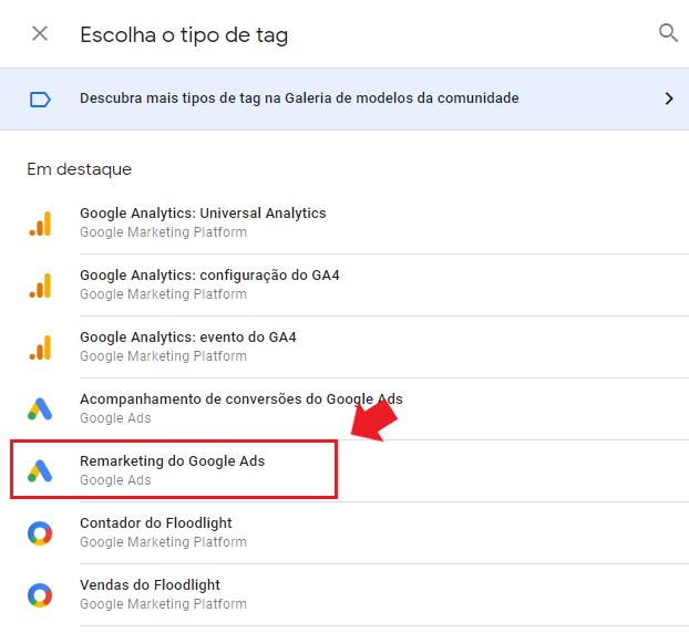google tag manager: imagem da tela de remarketing google ads