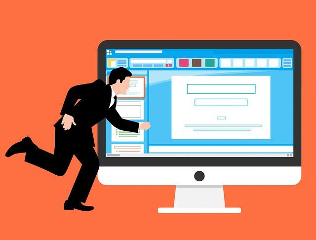 landing page: imagem em formato de desenho de um homem em movimento na frente de um monitor