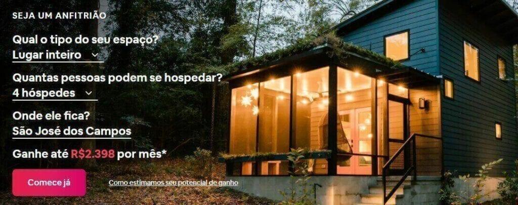 landing page exemplos: imagem de um formulário com uma casa iluminada ao fundo