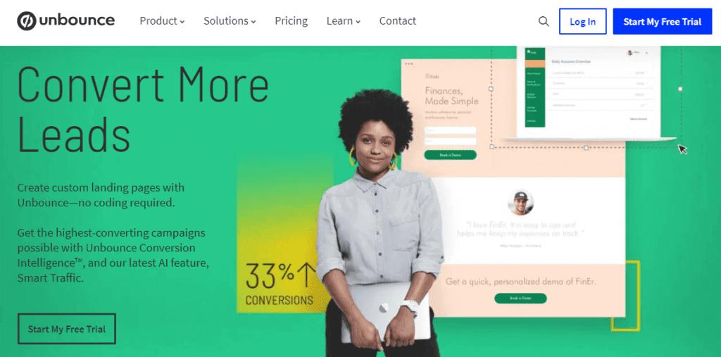 landing page exemplos: imagem de um botão de teste grátis com mais elementos na tela: uma mulher negra, depoimento de usuário, imagem do sistema