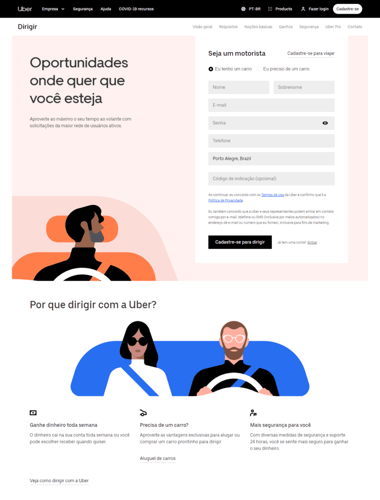 landing page exemplos: imagem de um formulário com informações sobre o por que usar o serviço