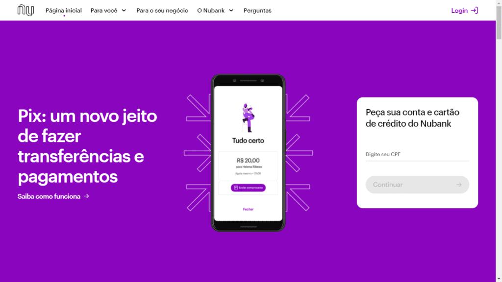 landing page exemplos: imagem de um celular com o sistema na tela, um texto descritivo e um formulário com o background na cor roxa