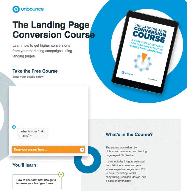 landing page exemplos: imagem da página da unbounce, mostrando um tablet com informações sobre um curso, uma janela de chat para interação com o usuário