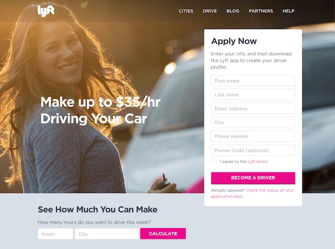 landing page exemplos: imagem da página da lyft com uma mulher sorrindo, segurando uma chave de carro, ao fundo aparece um carro na cor prata, na frente o lado direito tem um formulário para inscrição