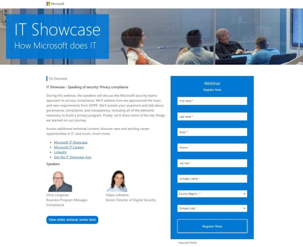 landing page exemplos: imagem da página da microsoft com um banner mostrando pessoas em uma sala de reunião, um texto descritivo e um formulário em azul na direita