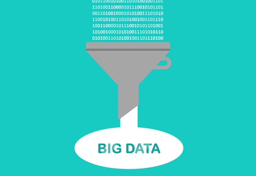 big data: imagem de vários números em formato de código caindo dentro de um funil e abaixo do funil aparece a palavra big data